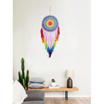 Colorful Feathers Handmade Dream Catcher Wall Hanging - multicolor 120*40CM