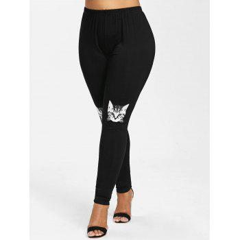 Plus Size Kitten Pattern Leggings - BLACK 2X