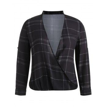 Plus Size Plaid Surplice Blouse - BLACK 3X