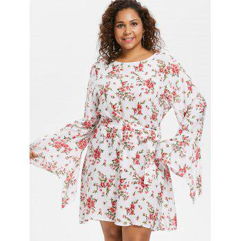 Floral Belted Plus Size Dress - WHITE 2X