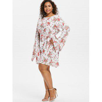 Floral Belted Plus Size Dress - WHITE 4X