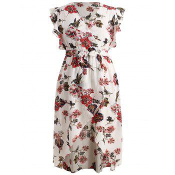 Plus Size Floral Surplice Dress - WHITE 3X
