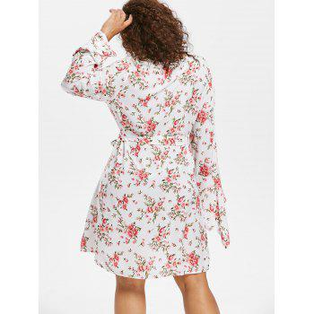Floral Belted Plus Size Dress - WHITE 3X