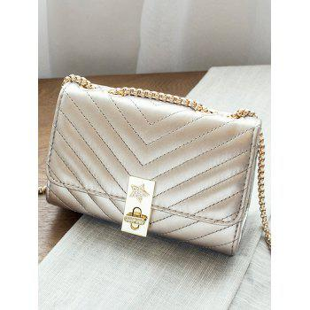 V Shaped Stitching Chain Hasp Crossbody Bag - CHAMPAGNE GOLD HORIZONTAL