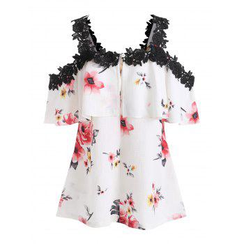 Cut Out Shoulder Flower Flounce Blouse - WHITE M