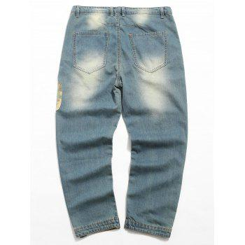 Camouflage Panel Zip Fly Distressed Jeans - DENIM DARK BLUE S