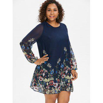Plus Size Casual Print Shift Dress - CADETBLUE 1X