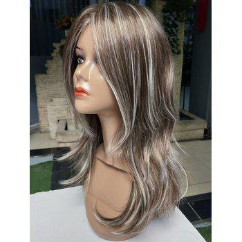 Long Inclined Bang Colormix Straight Heat Resistant Synthetic Wig - multicolor