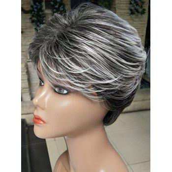 Short Inclined Fringe Colormix Straight Synthetic Wig - multicolor