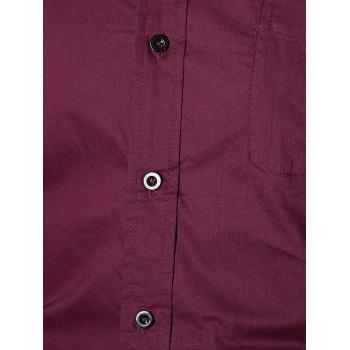 Striped Splicing Long Sleeve Button Down Shirt - RED WINE XL