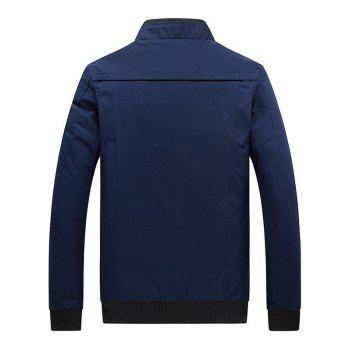 Stand Collar Zip Up Epaulet Design Jacket - DEEP BLUE L
