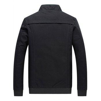 Stand Collar Zip Up Epaulet Design Jacket - BLACK M