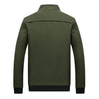 Stand Collar Zip Up Epaulet Design Jacket - ARMY GREEN M