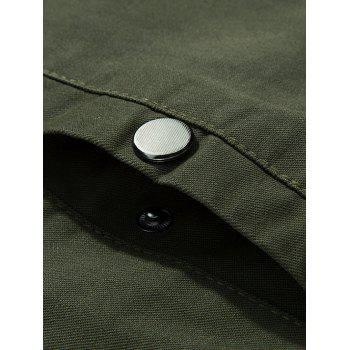 Stand Collar Zip Up Epaulet Design Jacket - ARMY GREEN 2XL