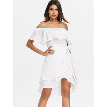 Off Shoulder Ruffled High Low Chiffon Dress - WHITE L
