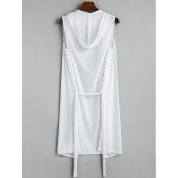 Lace-up Sleeveless Hooded Sexy Loungewear - WHITE S