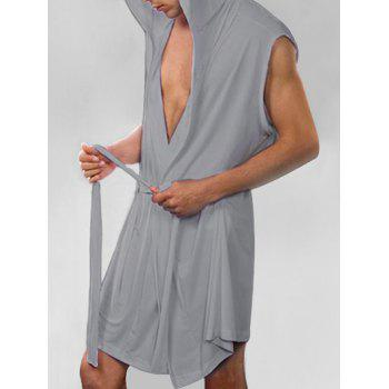 Lace-up Sleeveless Hooded Sexy Loungewear - GRAY CLOUD S