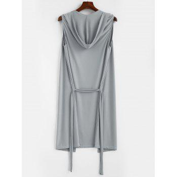Lace-up Sleeveless Hooded Sexy Loungewear - GRAY CLOUD L