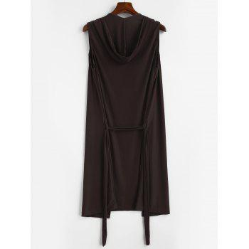 Lace-up Sleeveless Hooded Sexy Loungewear - COFFEE L