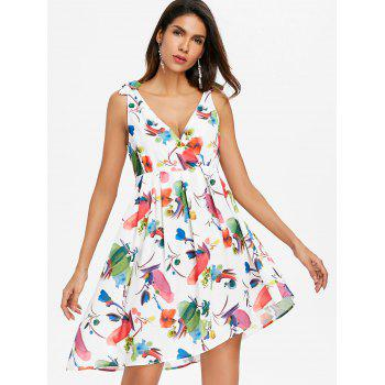 Sleeveless Print Back Cut Out Dress - WHITE M