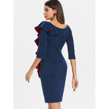 Ruffled Bodycon Dress - DEEP BLUE L