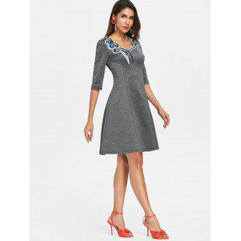Lace Applique Swing Dress - DARK GRAY L