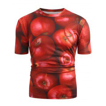 3D Apple Print Casual T-shirt - RED M