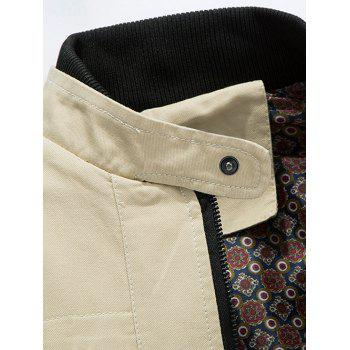 Stand Collar Zip Up Epaulet Design Jacket - LIGHT KHAKI L