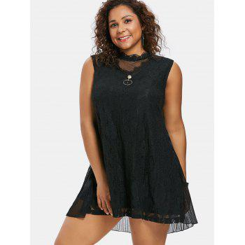Plus Size Swing Lace Overlay Dress - BLACK 3X