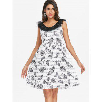 Music Note Butterfly Print Vintage Dress - WHITE L