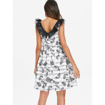 Music Note Butterfly Print Vintage Dress - WHITE M