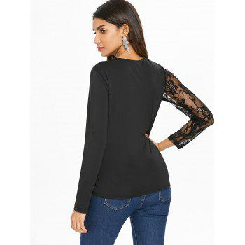 Lace Sleeve Lace Panel T-shirt - BLACK 2XL
