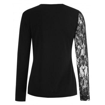 Lace Sleeve Lace Panel T-shirt - BLACK S