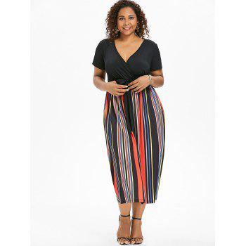 Plus Size Deep V Neck Striped Dress - BLACK 1X