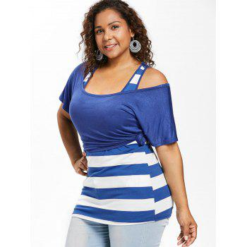 Plus Size Scoop Neck T-shirt and Tank Top - ROYAL BLUE 1X