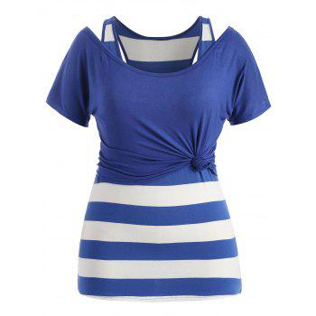 Plus Size Scoop Neck T-shirt and Tank Top - ROYAL BLUE 2X
