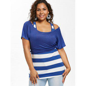 Plus Size Scoop Neck T-shirt and Tank Top - ROYAL BLUE 4X