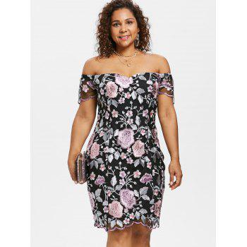 2018 Floral Embroidery Plus Size Dress Multicolor X In Bodycon