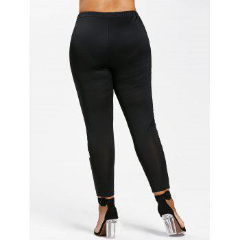 Plus Size High Waist Notes Print Leggings - BLACK 1X