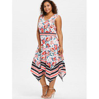 Plus Size Floral Handkerchief Midi Dress - WHITE 1X