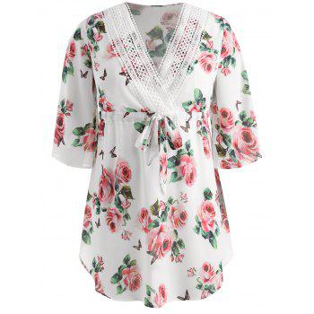 Plunging Neck Plus Size Floral Print Dress - WHITE 5X