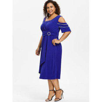 Plus Size Half Sleeve Midi Surplice Dress - ROYAL BLUE 1X