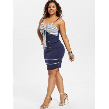 Plus Size Bow Bust Knee Length Fitted Dress - MIDNIGHT BLUE 1X