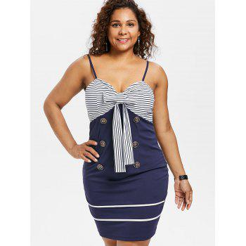 Plus Size Bow Bust Knee Length Fitted Dress - MIDNIGHT BLUE 4X