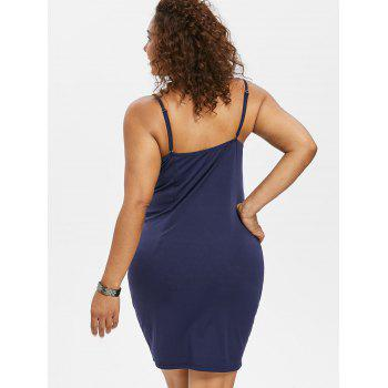 Plus Size Bow Bust Knee Length Fitted Dress - MIDNIGHT BLUE 5X