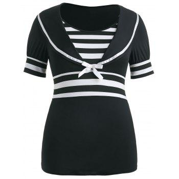 Plus Size Bowknot Embellished Sailor Collar T-shirt - BLACK L