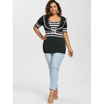 Plus Size Bowknot Embellished Sailor Collar T-shirt - BLACK 1X