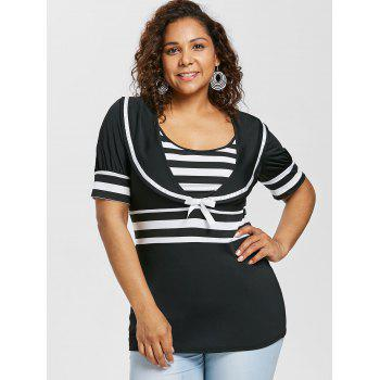 Plus Size Bowknot Embellished Sailor Collar T-shirt - BLACK 3X