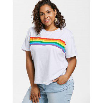 Plus Size Round Neck Striped Tee - WHITE 4X