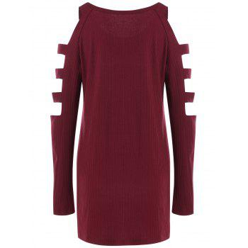 Ladder Cut Out High Low Ribbed Tee - RED WINE XL